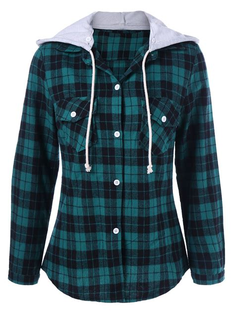 Hooded Plaid Sweatshirt plaid hooded shirt hoodie green xl in sweatshirts