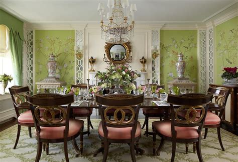 classical chinoiserie green dining interiors  color