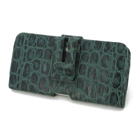 samsung galaxy a8 leather holster green croc pattern