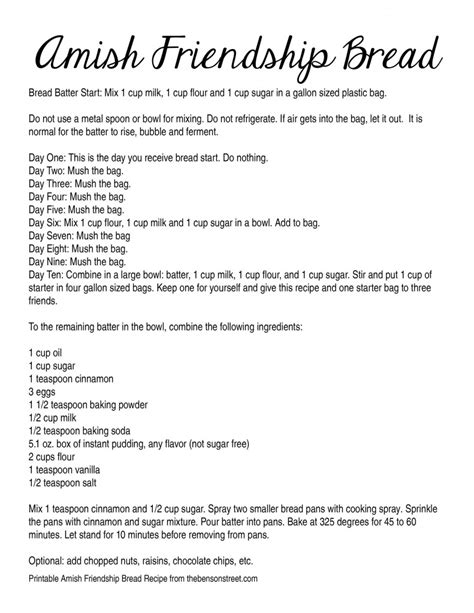 Printable Directions For Amish Friendship Bread | amish friendship bread recipe dishmaps