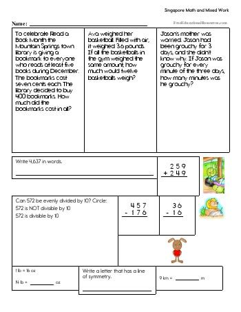 Singapore Math Worksheets Freeeducationalresources Com