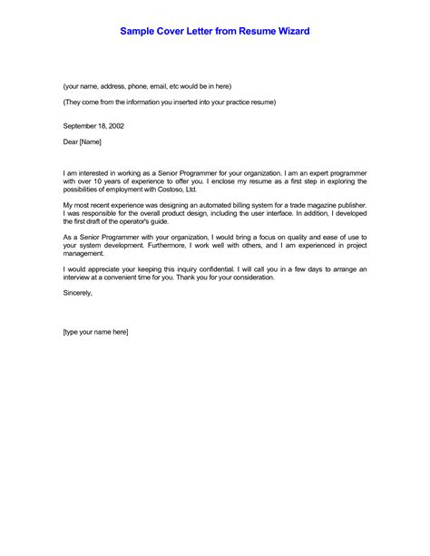 cover letter wizard email resume cover letter exles sle cover letter for