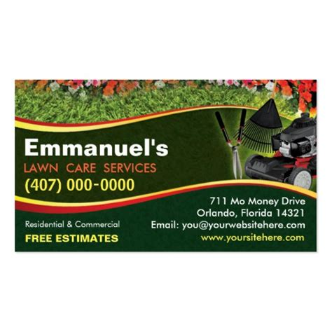 landscaping lawn care mower business card template zazzle