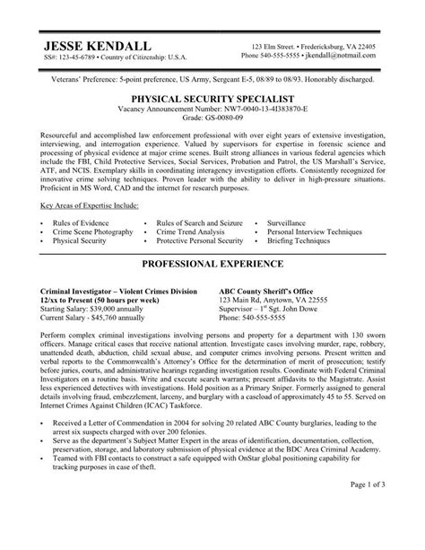 sle federal resume sle security guard resume free template for