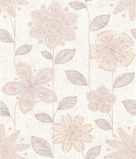 wallpaper batik pink maisie pink batik flower wallpaper swatch farmhouse