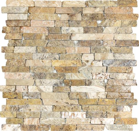 shop anatolia tile scabos mixed pattern mosaic travertine anatolia tile stone travertine mosaic 5 8 random strip