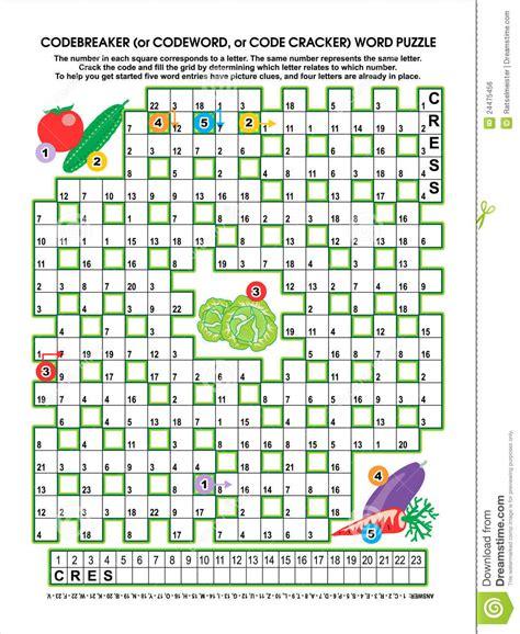 Garden Tool Crossword Answer Vegetable Garden Codebreaker Word Puzzle Royalty Free