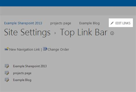 sharepoint top link bar how to delete a top link bar item sharepoint 2013