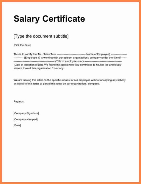 Employment Certificate Letter Word 4 Sle Of Certificate Of Employment With Salary Salary Slip