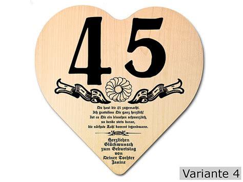 Hochzeit 45 Jahre by Geschenk Zum 45 Geburtstag Herz Holzschild Mit