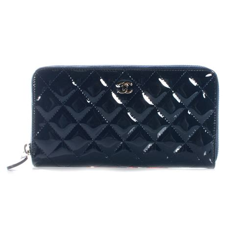 Chanel Zp chanel patent quilted zip around wallet navy blue 52156