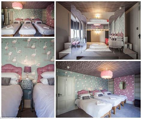 flamingo wallpaper room inside the ultimate alice in wonderland retreat in