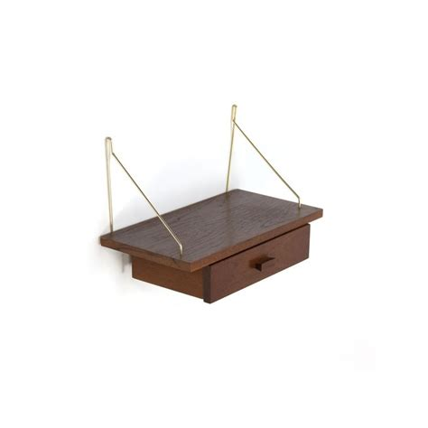 lade etro teakhouten plank met lade retro studio