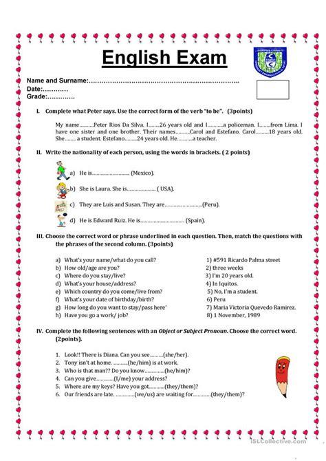 printable free english tests common worksheets 187 english grammar tests printable