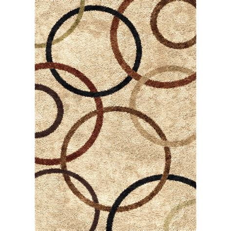 Circle Area Rug Orian Impressions Shag 3706 Circle Design Bisque Area Rug