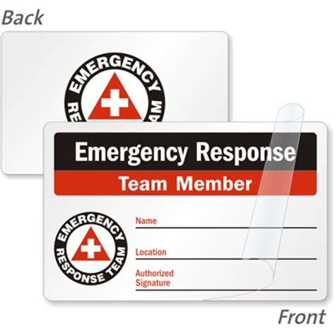 emergency response card template 2 sided emergency response team member safety wallet card