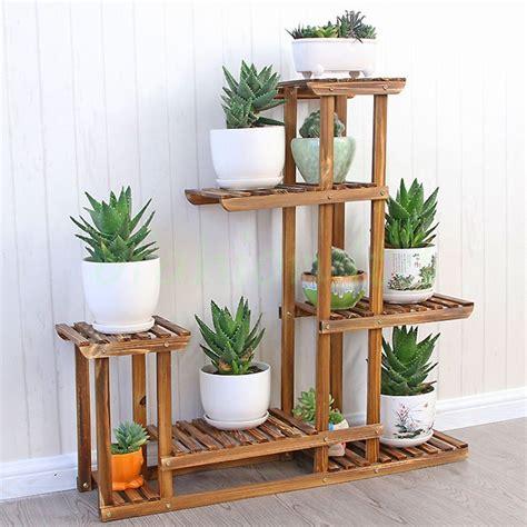 Malayas Wooden Plant Flower Display Stand Wood Pot Shelf Garden Flower Stands
