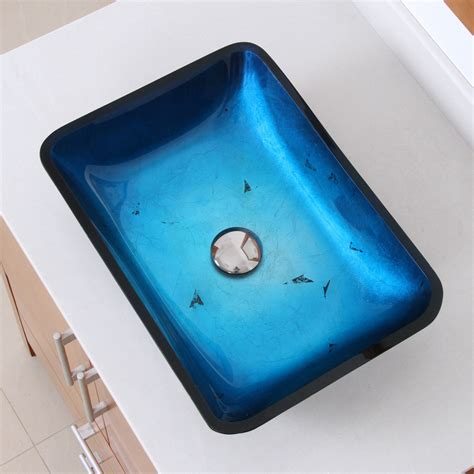 blue bathroom sinks elite 1408 rectangle artistic blue tempered glass bathroom