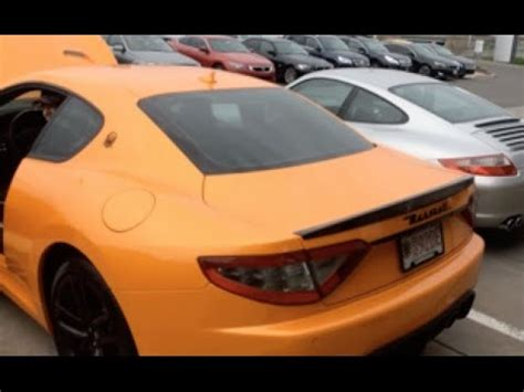 orange maserati orange maserati granturismo mc startup revs loud