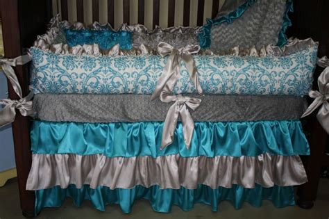 Grey And Turquoise Crib Bedding Turquoise And Gray Crib Bedding Boys Bedroom Nursery
