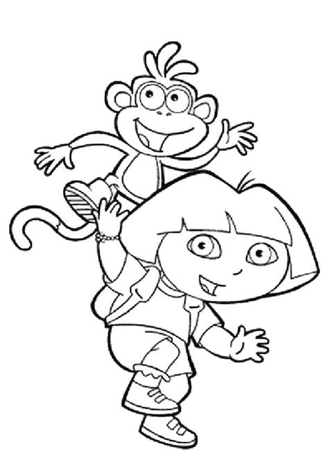 coloring pages of dora and boots dora the explorer and boots coloring pages hellokids com