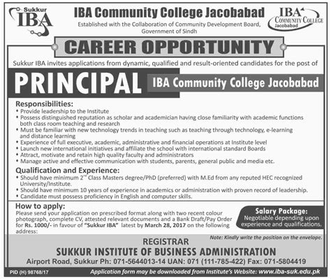 Iba Mba Salary by Principal In Iba Community College Jacobabad