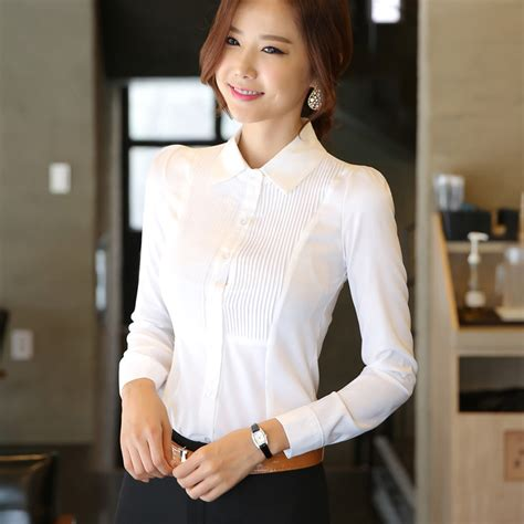 Nasya Blouse White 50 and autumn white blouse work wear occupational office shirts plus size s 3xl slim