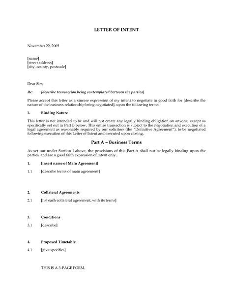 uk letter intent template legal forms business