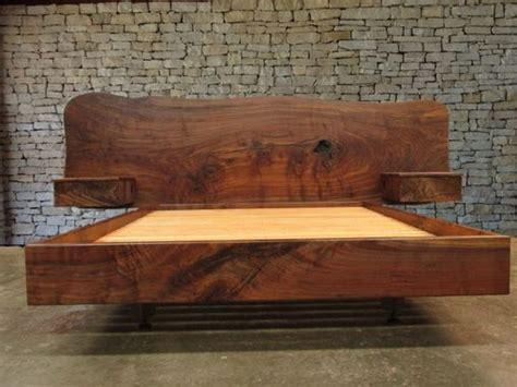 handmade claro walnut slab headboard bed california king