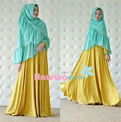 Baju Muslim Syar I Polkadot afia kuning tosca baju muslim gamis modern