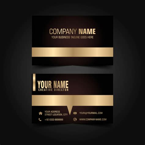 Black Business Card Template Vector by Golden With Black Luxury Business Card Template Vector 01