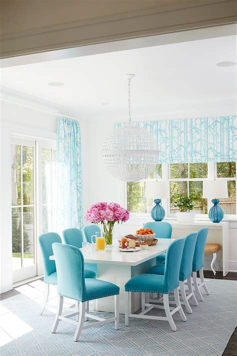 light blue dining room white dining table with turquoise blue velvet dining