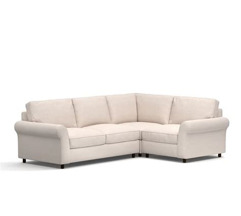 pottery barn pb comfort sectional pb comfort roll arm upholstered 3 piece sectional with
