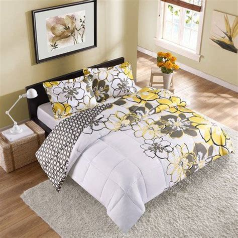 yellow twin bedding 2pc girl yellow black gray flower college dorm twin twin