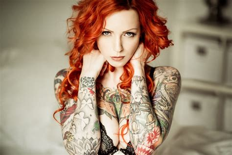 tattoo girl image hd redhead tattoo girl hd wallpaper hdwallpaperfx