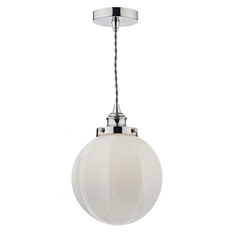 Globe Ceiling Lights Modern Ceiling Pendant Globe On Nickel Suspension With Opal Glass Shade