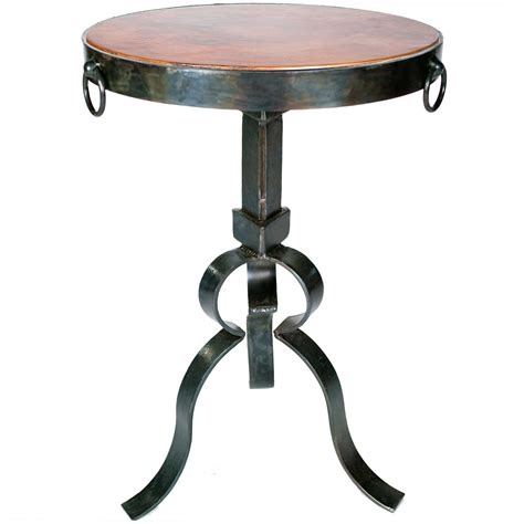 Copper Side Table Carver Iron Accent Table With Hammered Copper Top