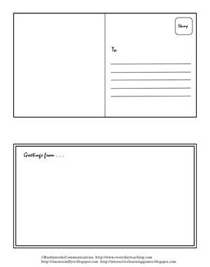 field card template postcard template teaching and