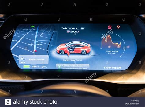 Tesla Digital Digital Dashboard On Model S Car Inside Tesla Electric Car