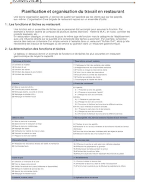 planification et organisation du travail en restauration