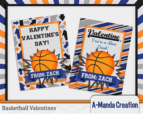 basketball valentines personalized printable basketball valentines