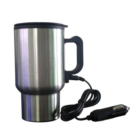 heated coffee mug stainless steel car mug auto travel heating cup heated 12v