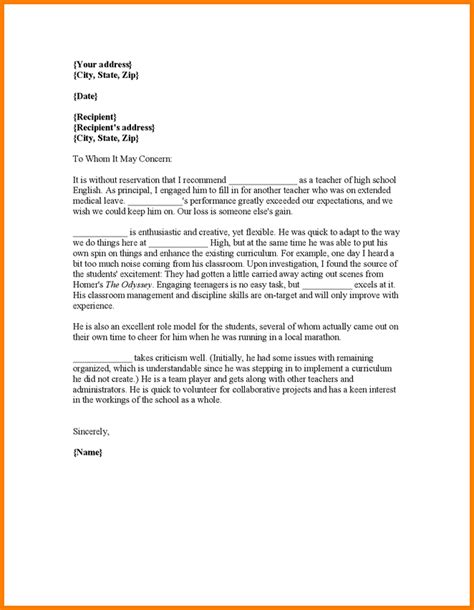 College Letter Of Recommendation For Average Student How To Write A Recommendation Letter For A Student For School
