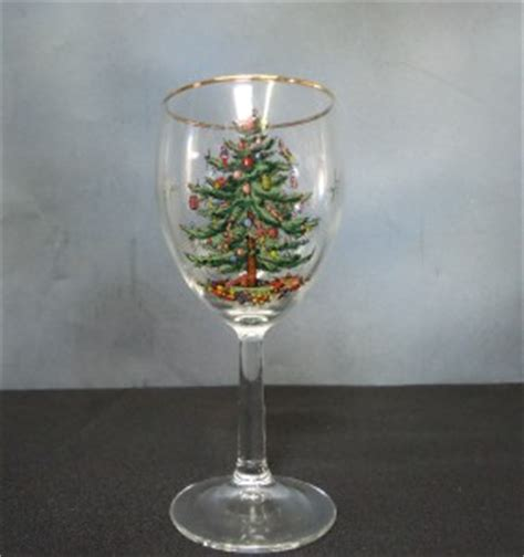 4 spode christmas tree wine glasses w original box ebay
