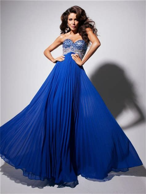 Longdress Serena Blue Df a line princess sweetheart royal blue chiffon pleated evening prom dress with beading