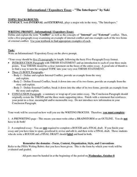 Format Exle Essay by Explanatory Essay Outline