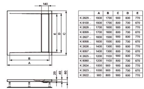 dimension receveur receveur strada id 233 al standard dimensions au choix receveurs de sanitaire