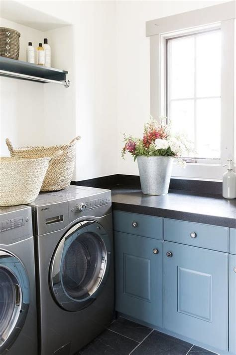 blue cabinets giggles and laundry gray laundry room with blond washstand and farm sink