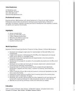 Exle Finance Resume by Professional Excel Vba Developer Templates To Showcase Your Talent Myperfectresume