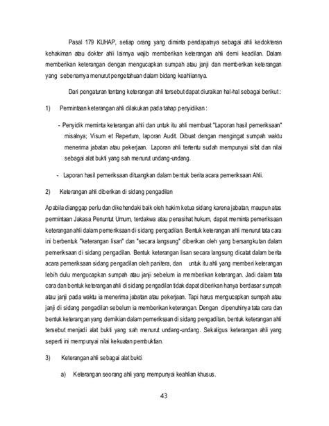 Keterangan Ahli Vusum Et Repertum Dalam Aspek Hukum Acara Pidana proses penegakan hukum gakkum tindak pidana riksa saksi tsk akbp